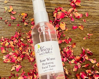 Organic Rose Water | 4 oz | Floral Water |Hydrosol NATURAL Toner | Cleanser | Hydrating | Mist