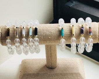 Natural Clear Quartz Bracelet | Matte Clear Quartz Bracelets | Handmade Jewelry | Natural Beads | Great Stacking Bracelet | Summer Jewelry