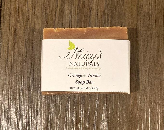 Orange + Vanilla    4.5 oz  Artisan Soap   Cold Process