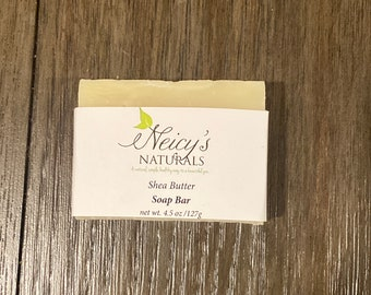 Shea Butter Soap Bar |  4.5 oz| Artisan Soap | Cold Process | Unscented | Sensitive Skin | Face + Body