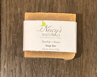 Rosehip + Neem Soap Bar |  4.5 oz| Artisan Soap | Cold Process |