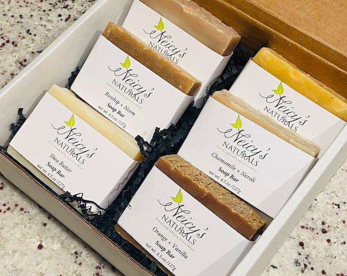 E.S.C.A.P.E Soap Box Set   Natural   Six Soap Bars   Handcrafted   Essential Oils   Gift  Box   4.5 oz   Bundle & Save   Self Care