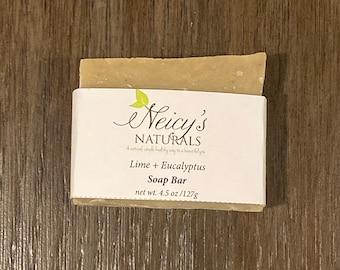 Lime + Eucalyptus | Hair + Body + Beard | 4.5 oz | Artisan Soap | Cold Process |Men's Soap Bar | Shea Butter