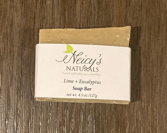 Lime + Eucalyptus   Hair + Body + Beard   4.5 oz   Artisan Soap   Cold Process  Men's Soap Bar   Shea Butter