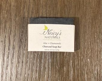 Aloe + Chamomile Soap Bar |  Activated Charcoal | 4.5 oz | Artisan Soap | Cold Process | Detox | Face + Body