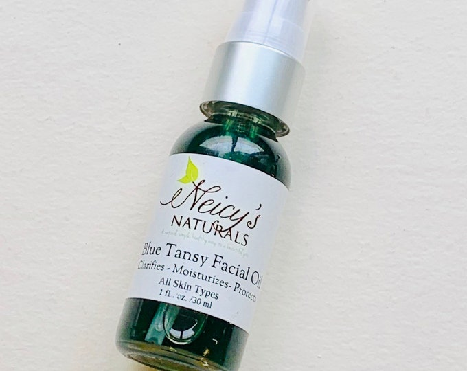 Blue Tansy Facial Oil   Natural Moisturizer   1 oz   Face Serum   Anti-aging   Skin Protection   Handmade