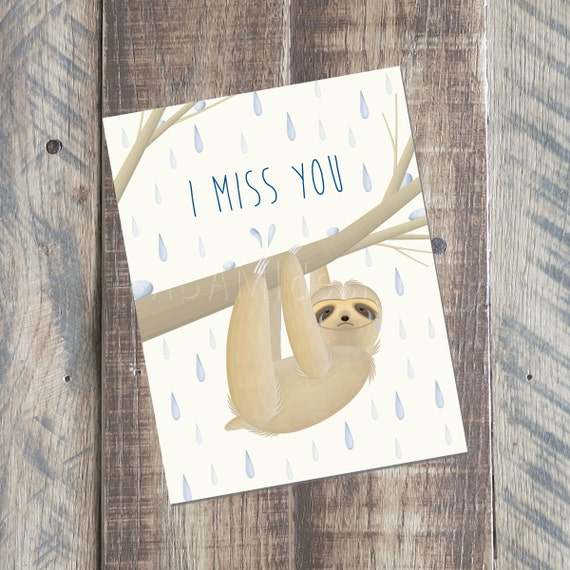photograph relating to Printable Miss You Cards called I Skip Oneself Card, Sloth Card, Printable PDF