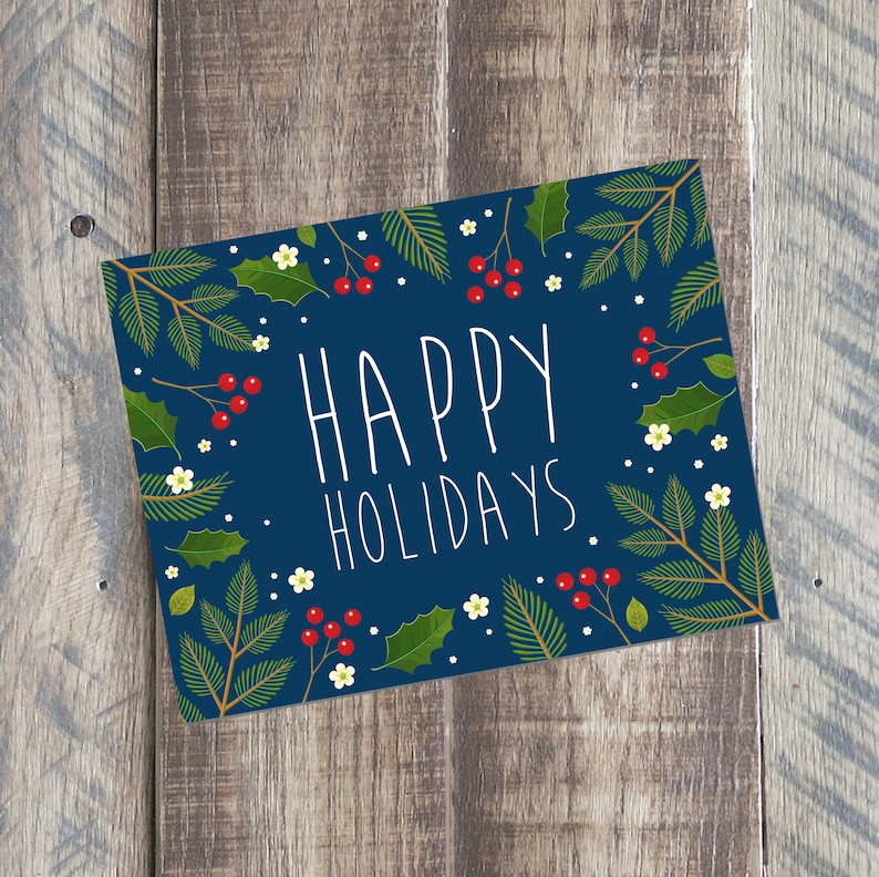 happy holidays card merry christmas card printable pdf