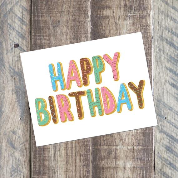 Happy Birthday Card Donuts Printable PDF