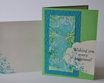 Hand stamped embossed card, turquoise and green filigree, for many occasions
