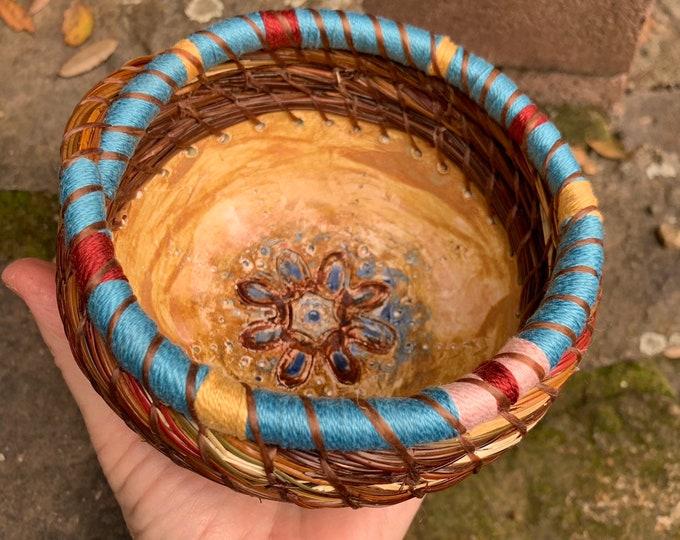 Turkish Rose Ceramic & pine needle basket