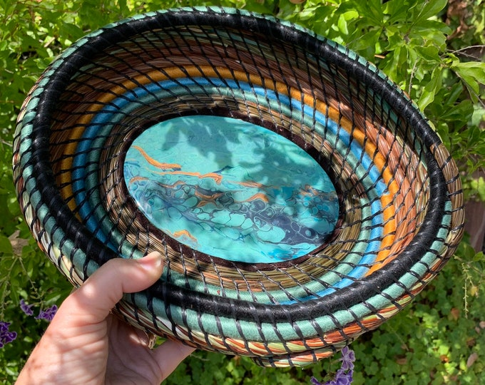 Reserved: River of Gold pine needle basket bowl