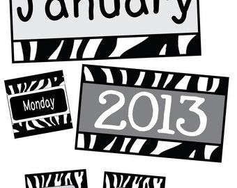 Black & White Zebra Classroom Calendar Pack