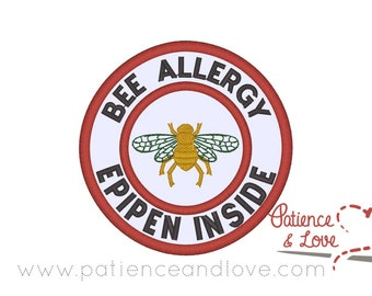 Patch, Sew-on, 3 inch round, Bee allergy- Epipen inside, bee in the center,  customizable patch
