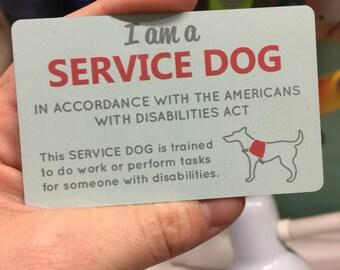 Service dog ADA information card, waterproof, Semi-Gloss thin Aluminum business card, 2 Sided