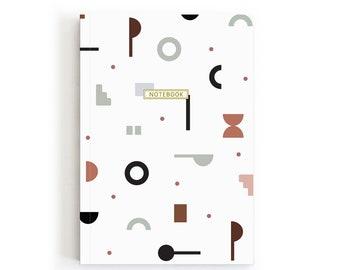 Geometric A5 Notebook, Travel Notebook, Notebook For Women, Modern Journal, Minimalist Stationery, Writing Journal, Lined Notebook