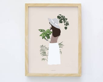 Botanical, Botanical Print, Plant Lovers Gift, Floral Illustration, Autumn Art, Plant Print, Leaves Wall Art, Greenery, House Plants Art