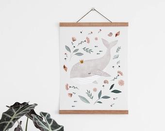 Nursery poster hanger, poster frame for nursery, large poster hanger, magnetic print hanger for kids room, A4, A3 magnetic print hanger