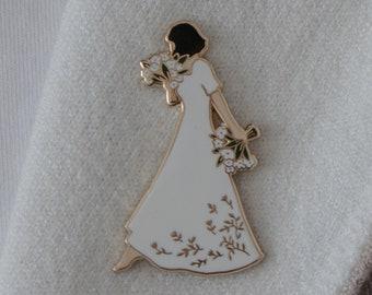 Flower Lady Enamel Pin - Lapel Pin - Badge
