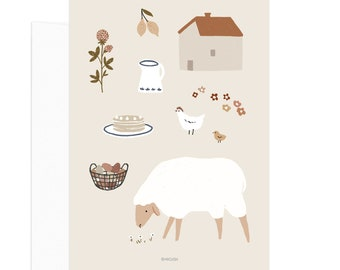 Simple Life - Sheep Card. Slow living lifestyle card
