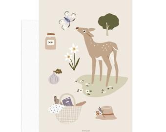 Simple Life - Deer Card. Slow living lifestyle card