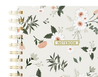 Vintage Floral Journal, Spring Stationery, Bloom Notebook, Women Travel Journal, Small Notebook Gift, Thank You Gift for Her, Spiral Journal