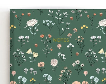Meadow Green Notebook, To Do List Notebook, Mini Notebook, Travel Notebook Journal, Memory Book, Cute Flowers Notebook, Floral Print