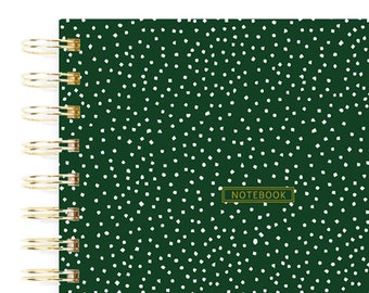 Green Confetti Notebook, Recipe Book, Gold Spiral Journal, Minimalist A5 Notebook, Writing Journal, Best Mother's Day Gifts, Girl Stationery