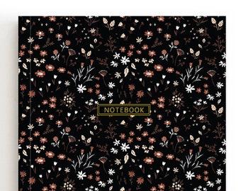 Black A5 Notebook, Flowers Notebook, Floral Journal, Bloom Diary, Handmade Notebook, Notebook For Girls, Notebook Blank, Pretty Notebook
