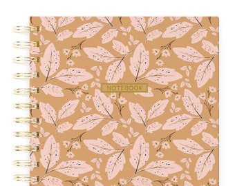 Gift for Mom, Small Spiral Notebook, Fall Leaves, Spiral Bound Journal, Traveler Notebook, Woman Notebook, Nature Journal, Pink and Blush