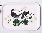 Toucans tray, tropical kitchen decor, tropical printed tray
