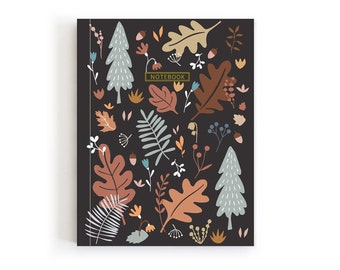 Mini Notebook, Soft Cover Journal, Fall Notebook, Forest Journal, Gifts for writers, Pretty Notebook, Stationery Cute, Acorn Trail