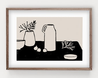 Simple Little Corner print - two colors print, wall decor, boho design, vase design, art print
