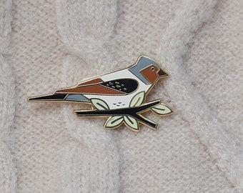 Bird Enamel Pin - Lapel Pin - Badge - Fringilla Coelebs Bird