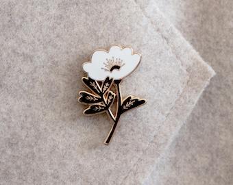 Black & White Flower Enamel Pin - Lapel Pin - Badge