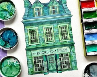 Wigtown Bookshop Watercolour Art Print. Building Illustration. Dumfries and Galloway. Scotland Watercolour. Watercolour Print. Urban Artwork