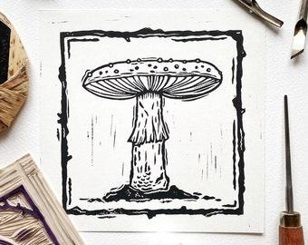 Mushroom 04 Original Lino Cut Print. Fungi Lino Print. Mushroom Illustration Art. Lino Print. Block Printing. Halloween Art Print. Autumn