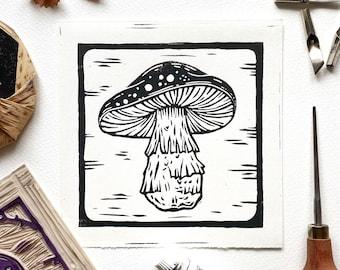 Mushroom 02 Original Lino Cut Print. Fungi Lino Print. Mushroom Illustration Art. Lino Print. Block Printing. Halloween Art Print. Autumn