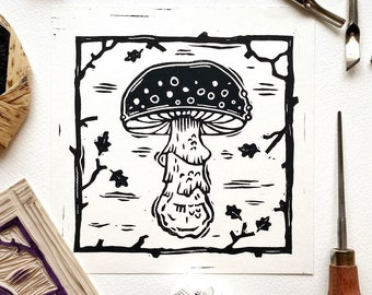 Mushroom 03 Original Lino Cut Print. Fungi Lino Print. Mushroom Illustration Art. Lino Print. Block Printing. Halloween Art Print. Autumn