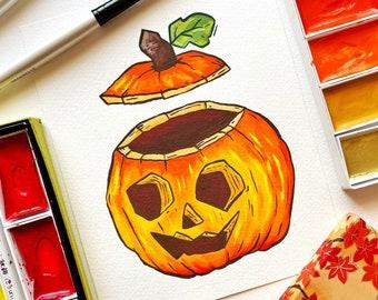 Carved Pumpkin Mini Print. Pumpkin Print. Pumpkin Illustration. Halloween Print. Gouache Painting. Halloween Decor. Autumn Print. Fall Art