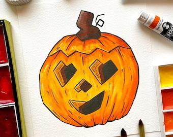 Happy Pumpkin Mini Print. Pumpkin Print. Pumpkin Illustration. Halloween Print. Gouache Painting. Halloween Decor. Autumn Print. Fall Art