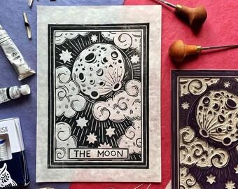 Full Moon Lino Cut Print. Moon Block Print. Moon Relief Print. Moon Phases Lino Print. Handmade Paper. Original Lino Print. Hand Carved Lino