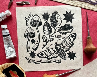 Autumn Things Original Lino Print. Lino Cut Print. Mushroom Lino Print. Moth Lino Print. Moon Lino Print. Block Print. Witchy Print. Lino