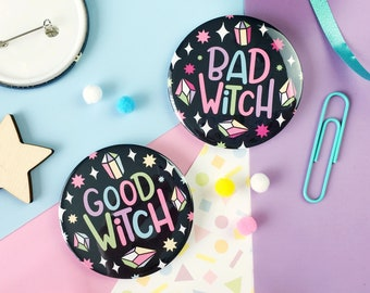 Good Witch Pin Badge. Bad Witch Pin Badge. Witchy Vibes. Witchy Badge. Witch Pin. Witchcraft and Wizardry. Wicca. Pagan. Witch Jewellery.