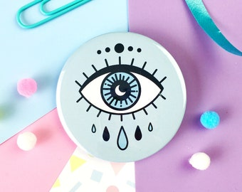Eye Badge or Pocket Mirror. All Seeing Eye. Evil Eye. Eye Pin Badge. Eye Pocket Mirror. Eye Illustration. Eye Tattoo Pin Badge. Witchy Vibes