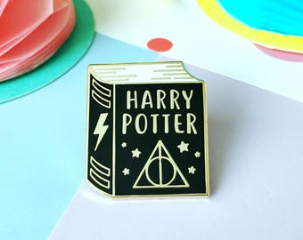 Book Enamel Pin. Enamel Pin. Book Pin. Witchcraft and Wizardry. Book Lover. Bookworm. Literary Pin. Bookish Pin. Magic Pin. Lightening Bolt