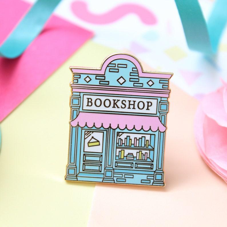 Bookshop Enamel Pin. Book Pin. Book Enamel Pin. Literary Pin. image 0