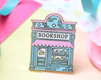 Bookshop Enamel Pin. Book Pin. Book Enamel Pin. Literary Pin. Book Lover Pin. Book Lover. Bookworm. Book Lapel Pin. Book Badge. Pastel Pins