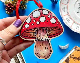 Red  Mushroom Christmas Decoration. Toadstool. Fungi. Tree Decoration. Wooden Christmas Decoration. Cherry Wood Tree Hanging Decoration.