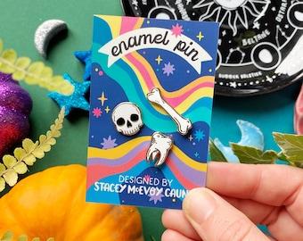 Bones Enamel Pin Set. Witchy Enamel Pin. Halloween Enamel Pin. Skull Enamel Pin. Witchcraft Enamel Pin. Filler Pins. Gothic Enamel Pin. Bone
